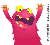 excited monster waving hands.... | Shutterstock .eps vector #1162720690