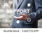 businessman presses button... | Shutterstock . vector #1162721359
