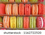 close up of color macaroons on... | Shutterstock . vector #1162722520