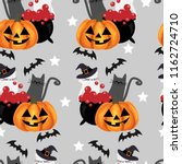 halloween seamless pattern with ... | Shutterstock .eps vector #1162724710