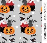 halloween seamless pattern with ... | Shutterstock .eps vector #1162724710