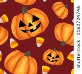 halloween seamless pattern with ... | Shutterstock .eps vector #1162724746