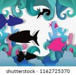 paper art undersea | Shutterstock .eps vector #1162725370