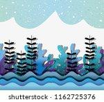 paper art undersea | Shutterstock .eps vector #1162725376