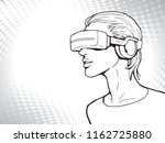 virtual reality headset in use... | Shutterstock .eps vector #1162725880