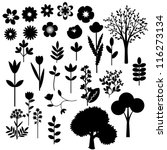 Stock vector collection of various decorative flowers and trees 116273134
