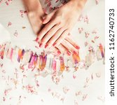 beautiful woman hands with... | Shutterstock . vector #1162740733