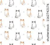 seamless pattern of cartoon cat ... | Shutterstock .eps vector #1162742176