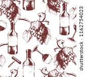 vector hand drawn seamless wine ...   Shutterstock .eps vector #1162754023