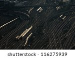 Railway wagons at the railroad yard - stock photo