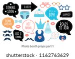 baby shower photo booth props.... | Shutterstock .eps vector #1162763629