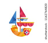 Small Sloop Ship With Colored...