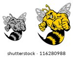 Angry hornet or yellow jacket mascot in cartoon style, such a logo template. Jpeg version also available in gallery