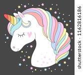 vector unicorn head. cute white ...   Shutterstock .eps vector #1162816186