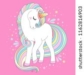 unicorn vector cute character.... | Shutterstock .eps vector #1162816903