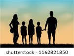 family silhouettes in nature. | Shutterstock .eps vector #1162821850