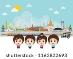 asians in national clothes.... | Shutterstock .eps vector #1162822693