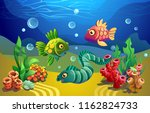 fairytale fish and a moray eel. ... | Shutterstock .eps vector #1162824733
