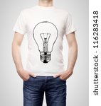 guy in T-shirt with bulb on a white background - stock photo