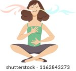 woman practicing breathing... | Shutterstock .eps vector #1162843273