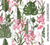 tropical vector seamless flower ... | Shutterstock .eps vector #1162850260