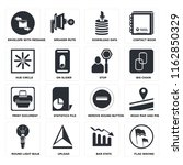 set of 16 icons such as flag...