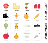 set of 16 icons such as trowel  ...