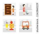 set of 4 vector icons such as... | Shutterstock .eps vector #1162860229