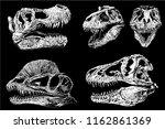 graphical set of dinosaur... | Shutterstock .eps vector #1162861369