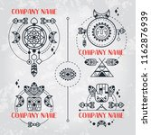 boho style set of logos. vector ... | Shutterstock .eps vector #1162876939