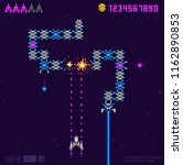 retro 8 bit game space snake... | Shutterstock .eps vector #1162890853
