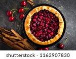 fruit pie. sweet pie  tart with ... | Shutterstock . vector #1162907830