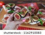 healthy bruschettas with bread  ... | Shutterstock . vector #1162910083