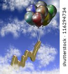 A group of balloons lifting chart arrow up in the sky / Golden chart - stock photo