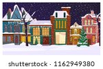 winter night townscape with... | Shutterstock .eps vector #1162949380