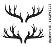 set of deer horns on white ... | Shutterstock . vector #1162965223