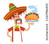 a man in the mexican sombrero.... | Shutterstock .eps vector #1162986403