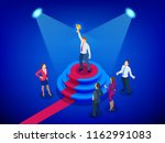 isometric winner business and... | Shutterstock .eps vector #1162991083