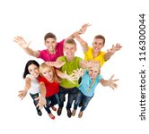 group of excited people happy... | Shutterstock . vector #116300044