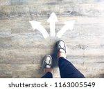 top view of selfie feet on... | Shutterstock . vector #1163005549