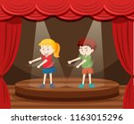 two children dancing on stage... | Shutterstock .eps vector #1163015296