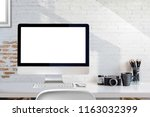mockup blank screen desktop... | Shutterstock . vector #1163032399