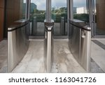 security at an entrance gate...   Shutterstock . vector #1163041726