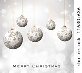 beautiful xmas balls on... | Shutterstock .eps vector #116305636
