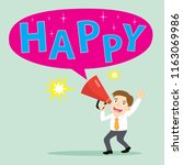 happy businessman holding... | Shutterstock .eps vector #1163069986