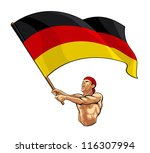 german fan waving flag | Shutterstock .eps vector #116307994