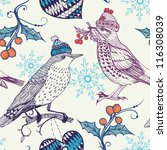 Stock vector christmas vector seamless pattern with vintage birds 116308039