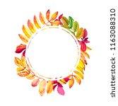bright autumn frame of leaves...   Shutterstock . vector #1163088310
