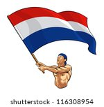 dutch fan waving flag | Shutterstock .eps vector #116308954