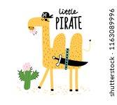 cute camel eats a cactus. camel ... | Shutterstock .eps vector #1163089996